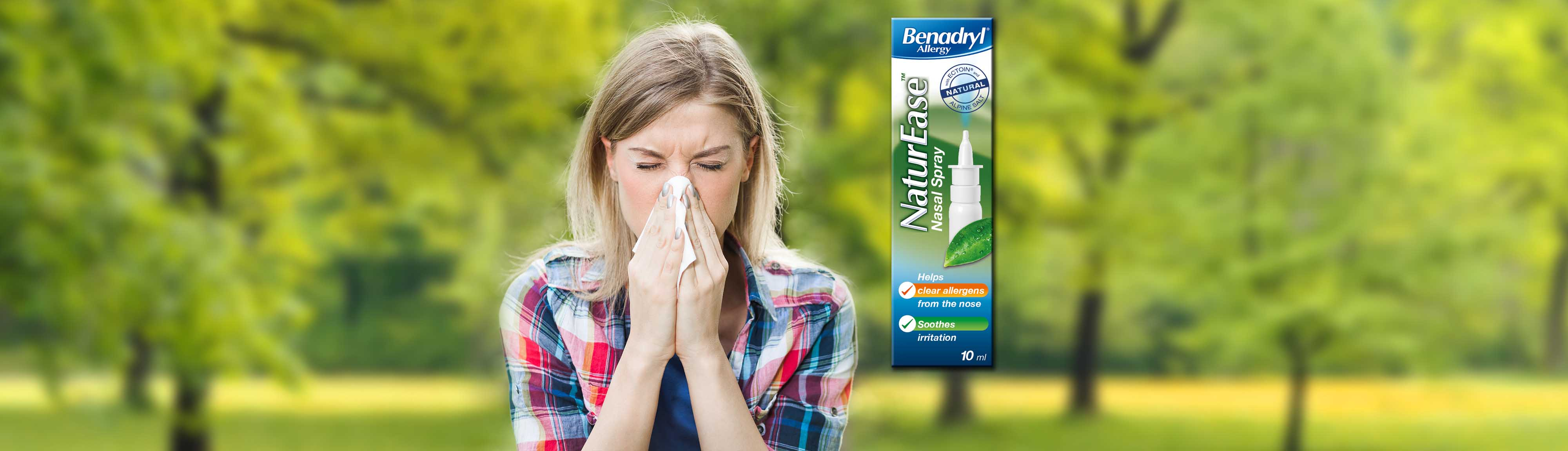 Benadryl NaturEase Nasal Spray helps clear allergens from the nose