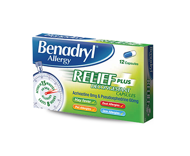BENADRYL® Allergy Relief Plus Decongestant 1