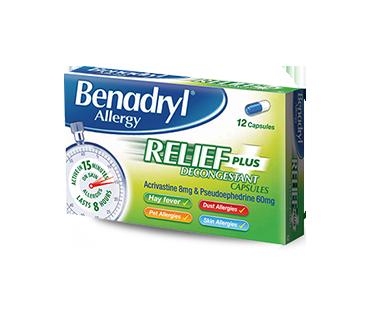 BENADRYL® Allergy Relief Plus Decongestant 1